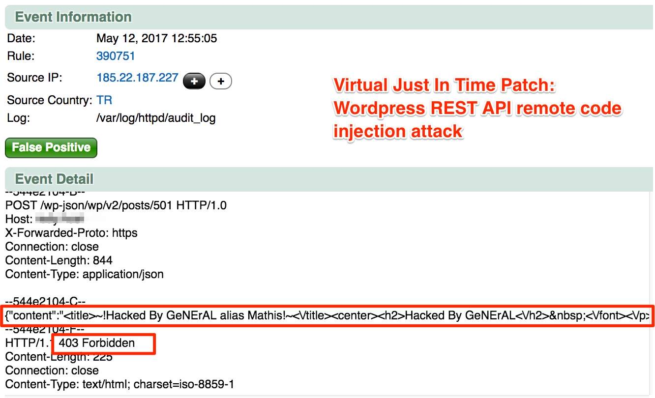 Virtual Just In Time Patch: WordPress REST API remote code injection attack