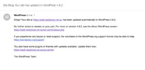 Example email notification about automated wordpress patches applied
