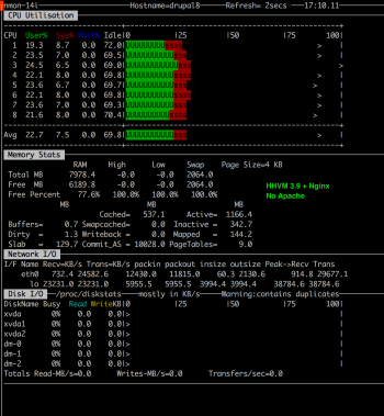 nmon resources utilisation in the middle of the Stress Test 3 (Nginx + HHVM)