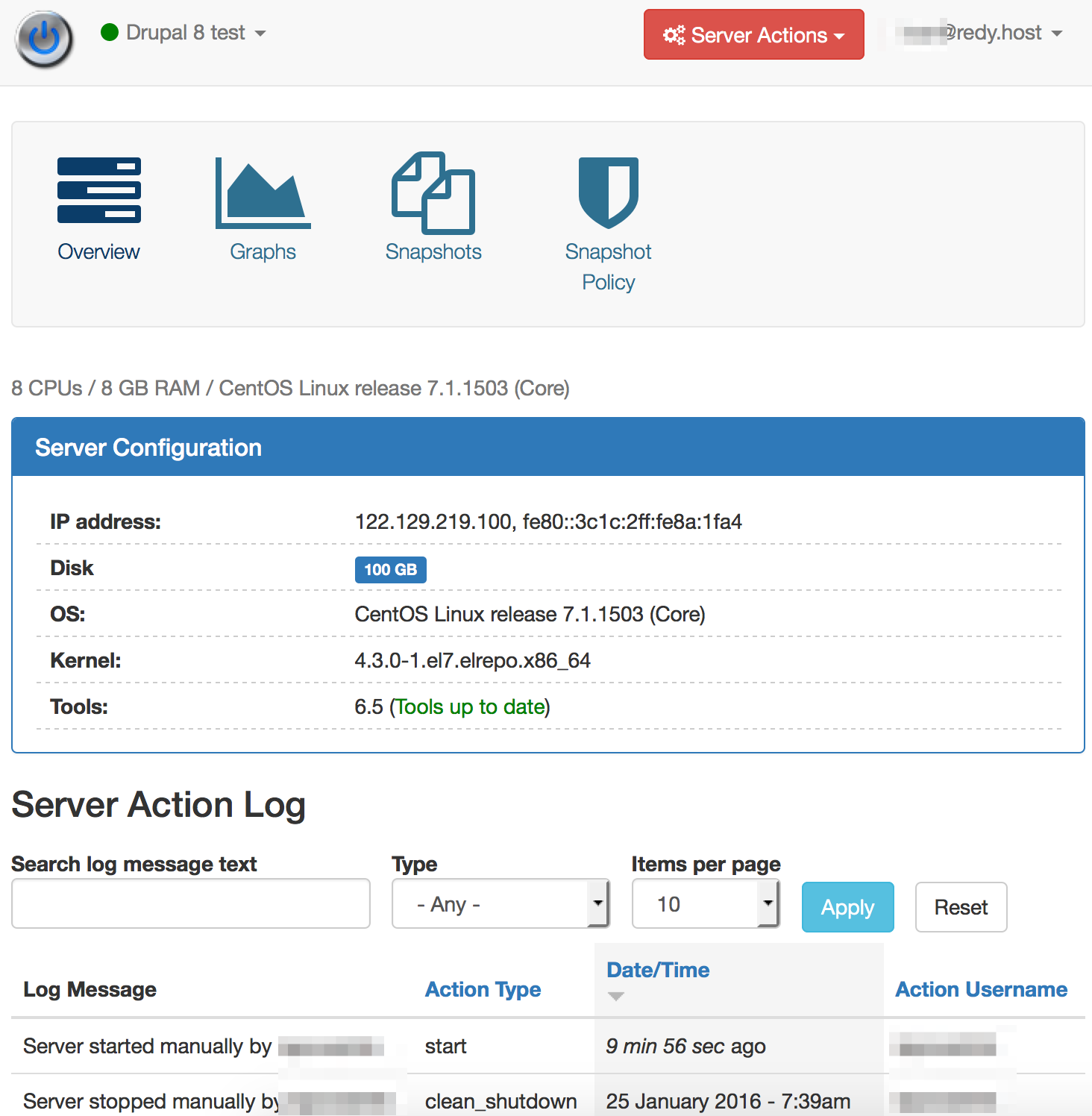 Server View - RedyHost Cloud VPS Management Console